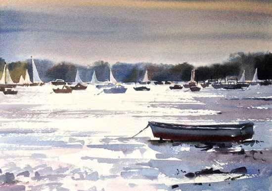 "Low Tide - Sandbanks Dorset. ""Watercolour"""