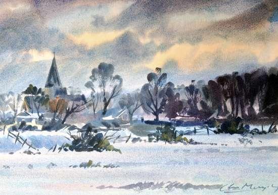Frosty Morning - Alfriston Church - Watercolour