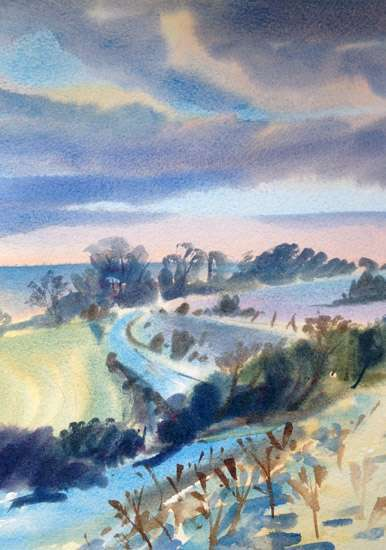 Early Morning on the South Downs - Watercolour