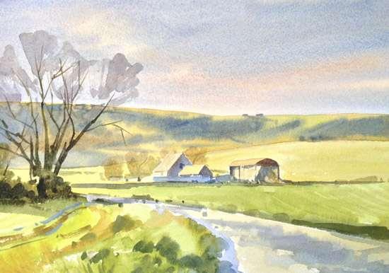 South Downs Nr Berwick - Watercolour