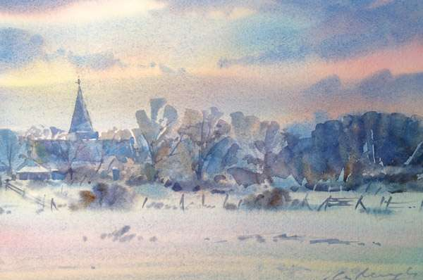 Alfriston Water Meadows Watercolour Painting